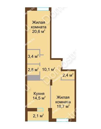 2 комнатная квартира 75,6 м² в ЖК Монолит, дом № 89, корп. 1, 2