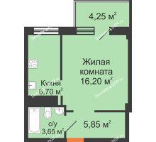 1 комнатная квартира 36,65 м², ЖК Вершина - планировка