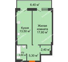 1 комнатная квартира 49 м² в ЖК Парк Островского 2, дом № 1 - планировка