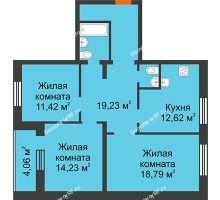 3 комнатная квартира 85,6 м² в ЖК Троицкий, дом Корпус 1 - планировка