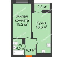 1 комнатная квартира 41,55 м² в ЖК Заречье, дом № 1 - планировка