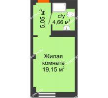 Студия 28,86 м², Апарт-Отель Гордеевка - планировка