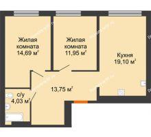 2 комнатная квартира 63,52 м² в ЖК Тесла Парк, дом ГП-2 - планировка