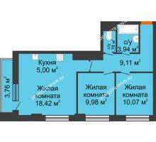 3 комнатная квартира 59,43 м², ЖК Каскад на Путейской - планировка