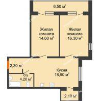 2 комнатная квартира 64,9 м² в ЖК Куйбышев, дом № 10 - планировка