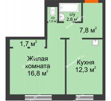1 комнатная квартира 42,2 м² в ЖК Курчатова, дом № 10.1 - планировка