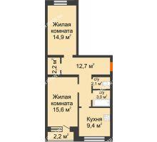 2 комнатная квартира 61 м² - ЖК Дом на Нижегородской