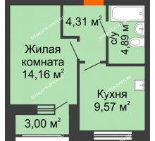 1 комнатная квартира 34,43 м², Жилой дом: ул. Сухопутная - планировка