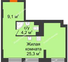 Студия 38,6 м², Комплекс апартаментов KM TOWER PLAZA (КМ ТАУЭР ПЛАЗА) - планировка