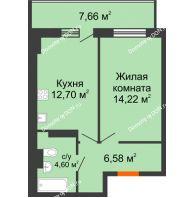 1 комнатная квартира 40,4 м² в ЖК Свобода, дом № 1 - планировка