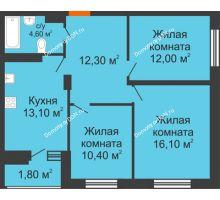 3 комнатная квартира 70 м² в ЖК Вересаево, дом Литер 12/1 - планировка