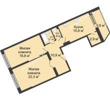 2 комнатная квартира 81,4 м² в ЖК Монолит, дом № 89, корп. 3 - планировка
