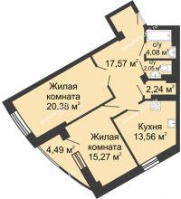 2 комнатная квартира 79,64 м², ЖК Юбилейный - планировка