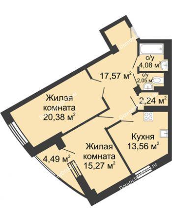 2 комнатная квартира 79,64 м² - ЖК Юбилейный