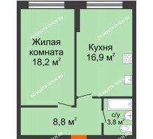 1 комнатная квартира 47,7 м² в ЖК Подкова на Родионова, дом № 2 - планировка