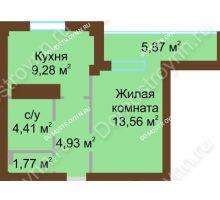 1 комнатная квартира 36,89 м² в ЖК На Победной, дом № 10