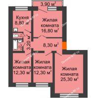 4 комнатная квартира 92,4 м², Жилой дом пр. Ленинградский, 26 г. Железногорск - планировка