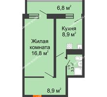 1 комнатная квартира 41,3 м² в ЖК Звезда Столицы, дом Литер 4 - планировка