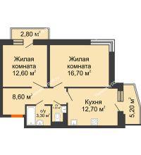2 комнатная квартира 58,6 м² в ЖК Династия, дом Литер 2 - планировка