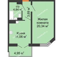 1 комнатная квартира 41,1 м² в ЖК Лазурный, дом 50 позиция (2-5 подъезд) - планировка