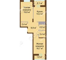 2 комнатная квартира 73 м² в ЖК Монолит, дом № 89, корп. 1, 2 - планировка