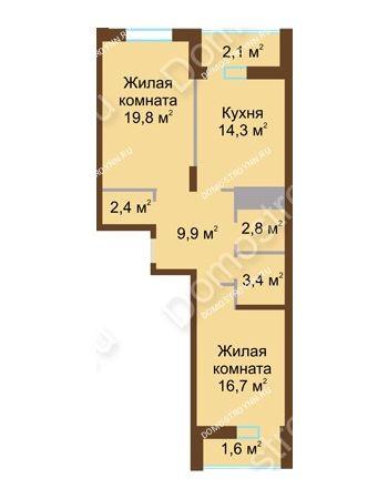 2 комнатная квартира 73 м² в ЖК Монолит, дом № 89, корп. 1, 2