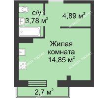 Студия 25,25 м² в ЖК Тридесятое, дом № 19 - планировка