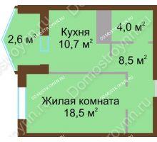 1 комнатная квартира 44,3 м² в ЖК Монолит, дом № 89, корп. 1, 2 - планировка