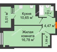 1 комнатная квартира 42,89 м², ЖК Площадь Ленина - планировка