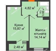 1 комнатная квартира 41,24 м² - ЖК Комарово