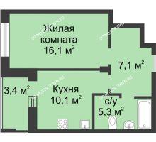 1 комнатная квартира 40,3 м² в ЖК Аквамарин, дом №8