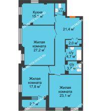 3 комнатная квартира 120,1 м² в ЖК Премиум, дом № 2 - планировка