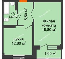 1 комнатная квартира 43,7 м², ЖК GEO (ГЕО) - планировка