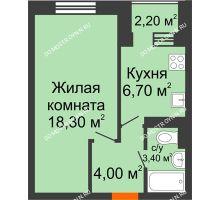 1 комнатная квартира 33,5 м² в ЖК Жюль Верн, дом № 1 корпус 1 - планировка