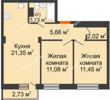 2 комнатная квартира 56,11 м² - ЖК Зеленый берег Life