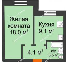 1 комнатная квартира 34,7 м² в ЖК Видный, дом № 2 - планировка