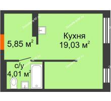 Студия 28,89 м² в ЖК Мозаика Парк, дом ГП-1 - планировка