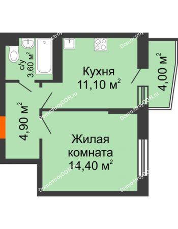 1 комнатная квартира 36 м² в ЖК Династия, дом Литер 2