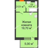 Студия 32,58 м² в ЖК Гвардейский 3.0, дом Секция 2 - планировка