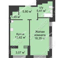 1 комнатная квартира 45,17 м² в ЖК Караваиха, дом № 5 - планировка