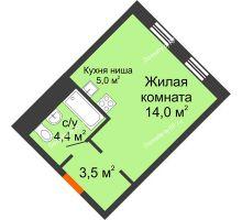 Студия 26,9 м² в Микрорайон Республика, дом ГП-3 - планировка