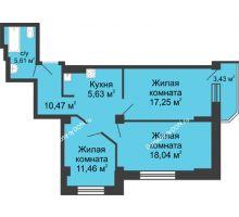 3 комнатная квартира 70,16 м² в ЖК Сердце Ростова, дом Этап I