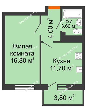 1 комнатная квартира 38 м² в ЖК Я, дом  Литер 2