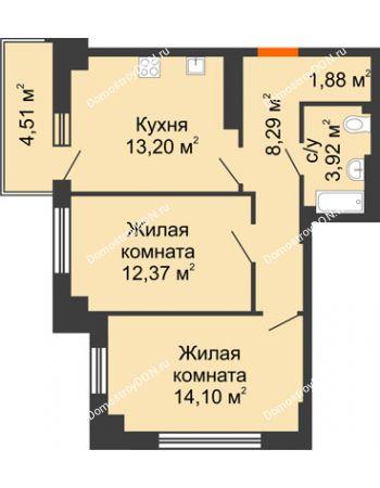 2 комнатная квартира 55,11 м² в ЖК Аврора, дом № 3