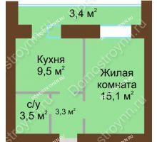 1 комнатная квартира 38,2 м² в ЖК Рубин, дом № 67