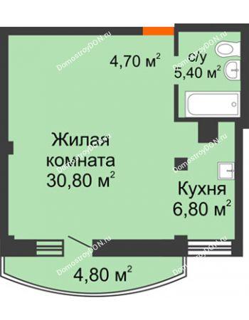 1 комнатная квартира 49,1 м² - ЖК Южная Башня