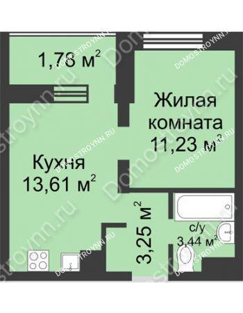 1 комнатная квартира 33,31 м² - ЖК Университетский