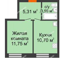 1 комнатная квартира 31,35 м², ЖК Советский - планировка
