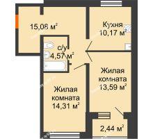 2 комнатная квартира 58,94 м², ЖК Вавиловский Дворик - планировка