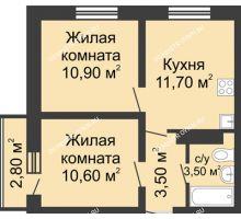 2 комнатная квартира 41,04 м² в ЖК Корабли, дом № 11 - планировка